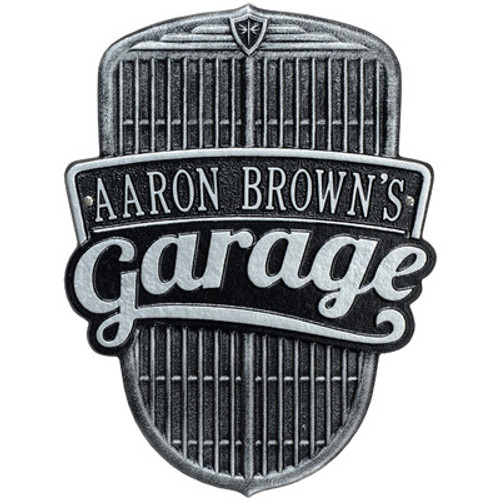 "Car Grille Garage Wall Plaque 15""H x 11""W  ( 1 Line)"