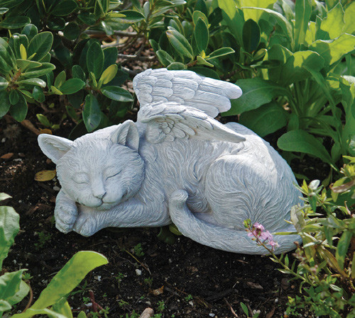 "Cat Memorial Angel Pet Statue 10""W"