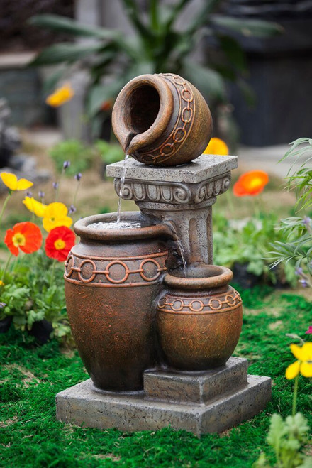 "Classic 3-Pot and Column Fountain 31""H"