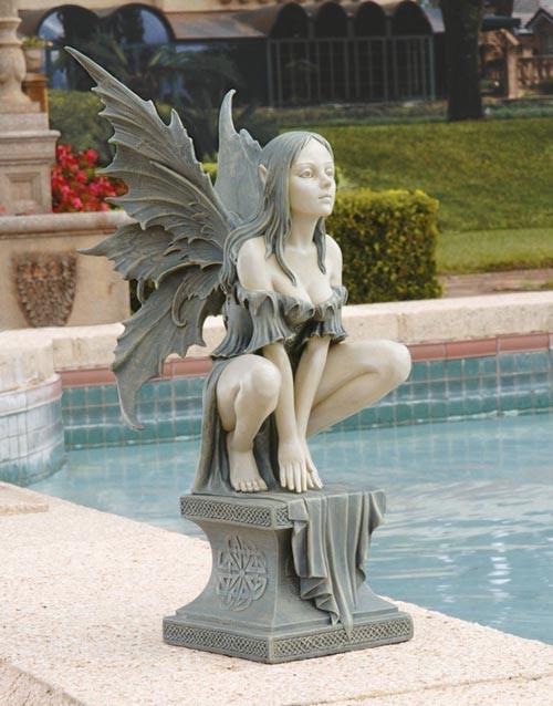 "Celtic Fairy's Perilous Perch Garden Statue 17""H"