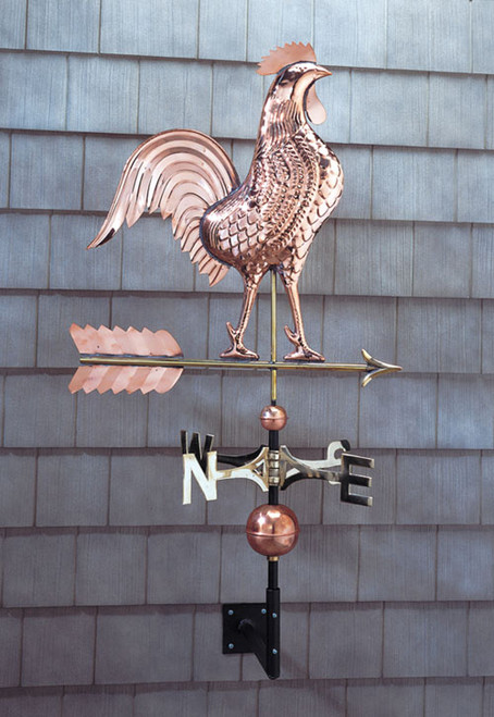Copper Rooster Weathervane - Polished