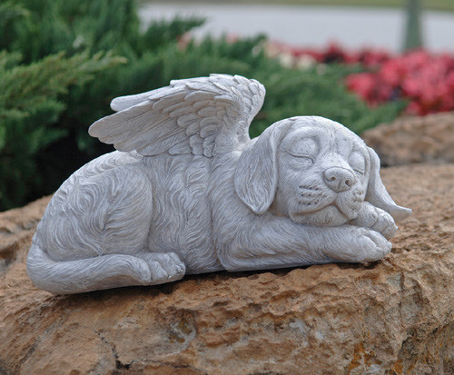 "Dog Memorial Angel Pet Statue 10""W"