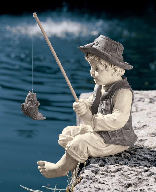 "Fishing Boy Statue 15""H"