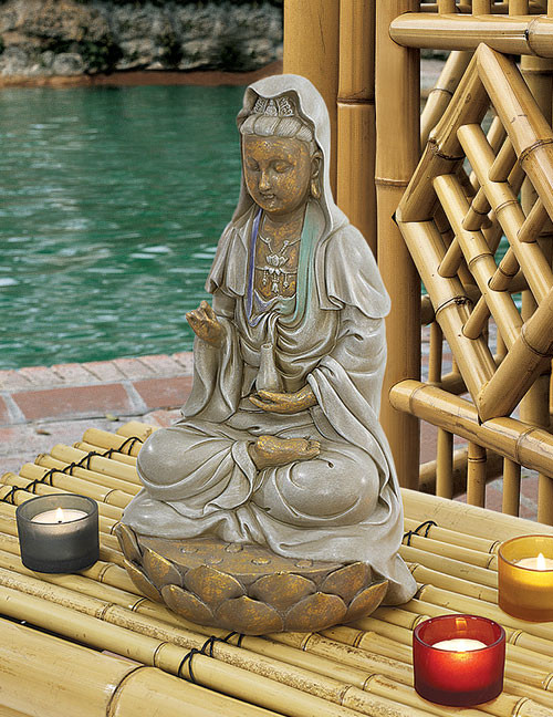 "Goddess Guan Yin Seated on Lotus Statue 12""H"