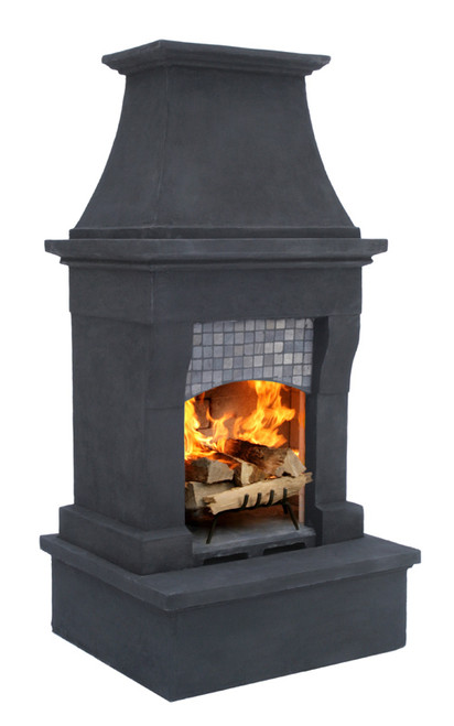 Midsize Freestanding Outdoor Fireplace (Midnight Grey)