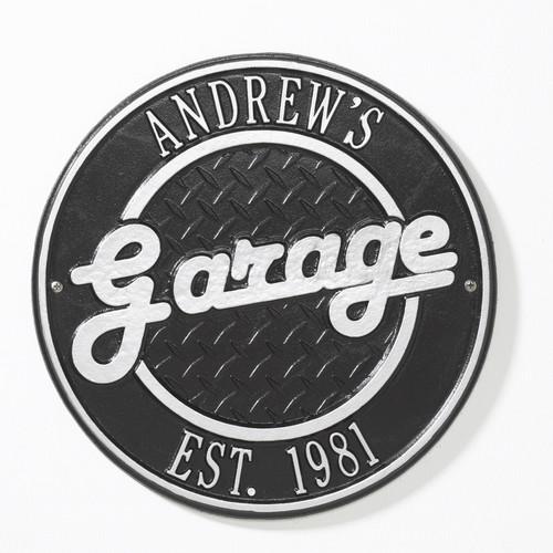 "Round Garage Plaque 12"" Diameter (2 Lines)"
