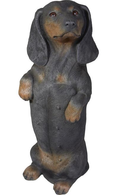 "Sandicast Black Dachshund Statue Sitting Pretty 17""H"
