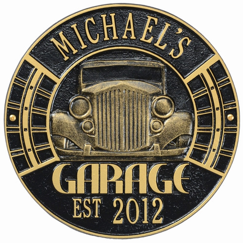 "Vintage Car Garage Plaque 12""Diameter (2 Lines)"