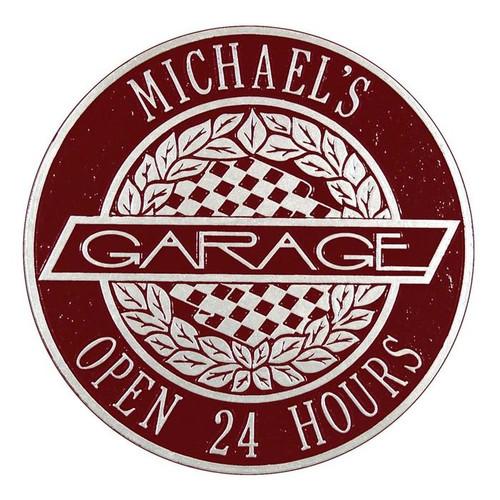 """Victory Lane Garage Plaque 12""""Diameter (2 Lines)"""