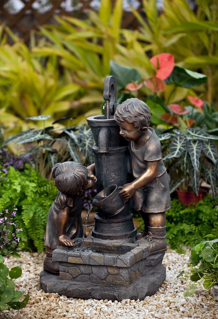 "Water Pump and Kids Fountain with LED Light 27""H"