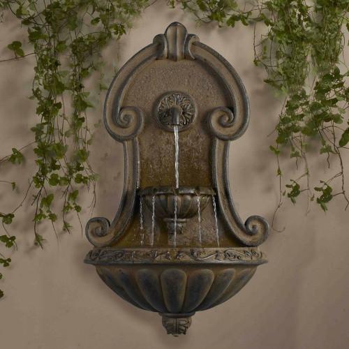 """Muro Elegante Copper Finish Wall Fountain 33""""H"""