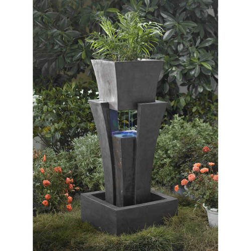 "Raining Water Fountain with Planter and LED light  35""H"