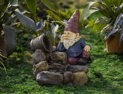 """Thinking Gnome Water Fountain 21""""H"""
