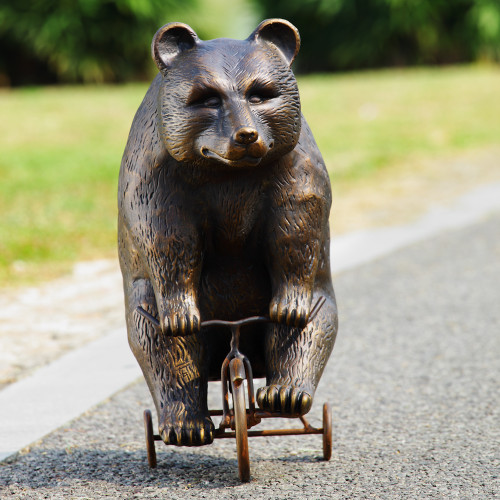 "Big Bear Riding Trike Garden Scupture 23""H"