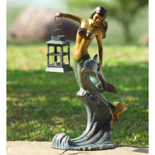 """Mermaid with Lantern Garden Sculpture 21""""H"""