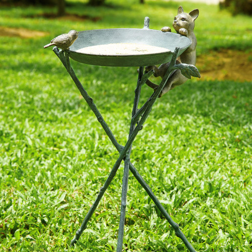 "Birdbath with Curious Cat 12""H"