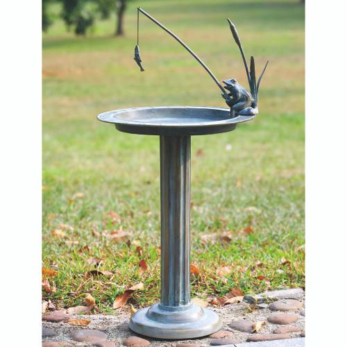 """Fishing Frog Sundial/Birdbath 32""""H"""
