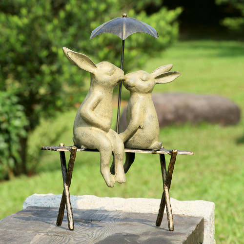 "Bunny Lovers on Bench Garden Sculpture 18""H"