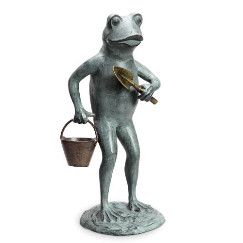 """Green Thumb Frog Garden Sculpture 20""""H"""