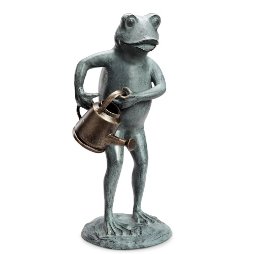 "Frog with Watering Can Garden Sculpture 19""H"