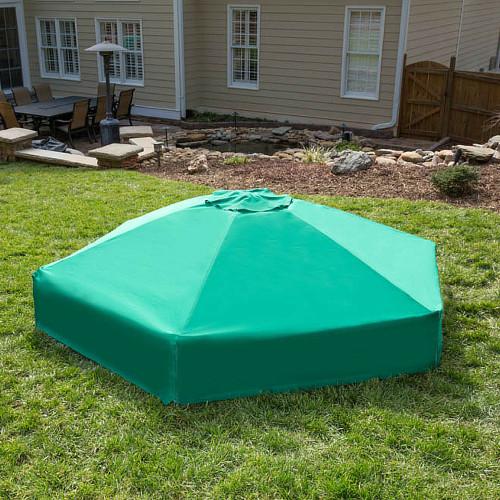 "Collapsible Hexagon Sandbox Cover 7' x  8' x 13.5"""