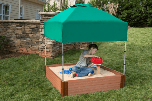 "Tool-Free Classic 4ft. x 4ft. x 11in. Composite Square Sandbox Kit with Telescoping Canopy/Cover (2"" profile) Sienna"
