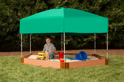 "Tool-Free Classic  7ft. x  8ft. x 5.5 in. Composite Hexagon Sandbox Kit with Telescoping Canopy/Cover (2"" profile) Sienna"