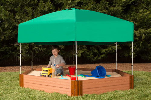 "Tool-Free Classic 7ft. x  8ft. x 11in. Composite Hexagon Sandbox Kit with Telescoping Canopy/Cover (2"" profile) Sienna"
