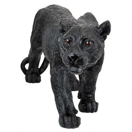 "Medium Shadowed Predator Black Panther Statue 26""W"