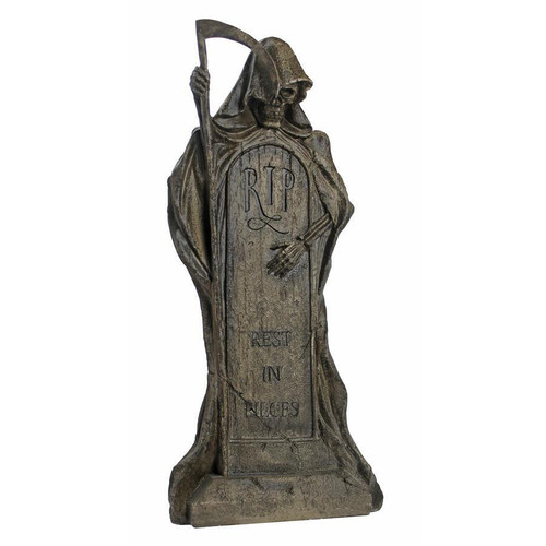 "Rest in Pieces Grim Reaper Tombstone Statue 25""H"