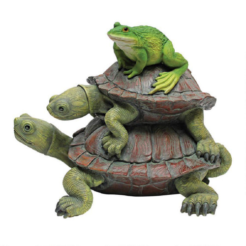 "In Good Company, Frog and Turtles Statue 9""H"