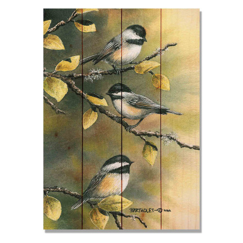 "Three Chickadees Wall Art 14"" x 20"""