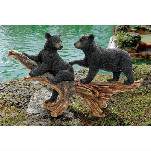 "Mischievous Bear Cubs Sculpture 18""H"