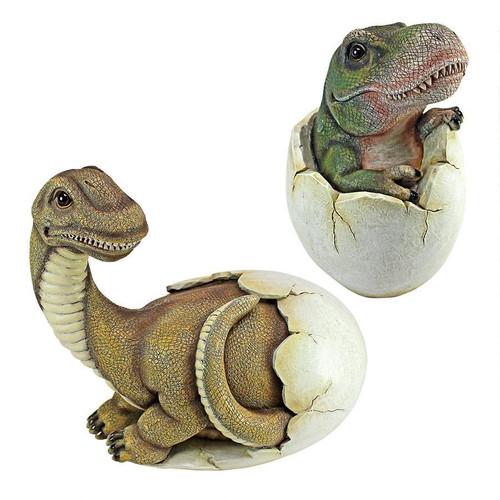 Baby Dinosaur Egg Hatchling Statue Set