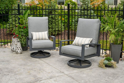 Shown in Cast Slate with Optional Lumbar Pillows