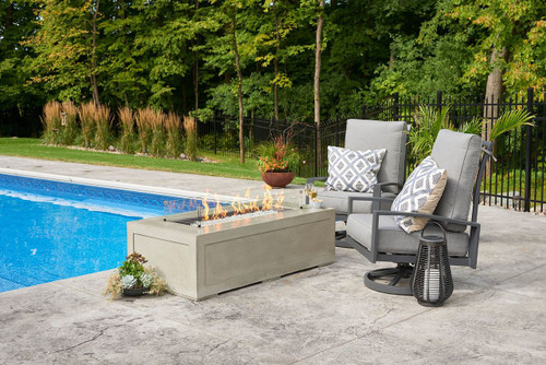 Set Shown with Linear Fire Pit Table with Glass Guard and Set Swivel Chairs (cushions not included)
