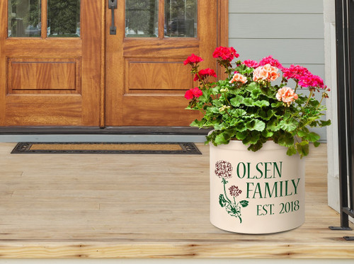 Personalized Geranium Stoneware 2 Gallon Crock