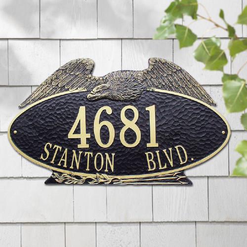 "Oval Eagle Estate Address Plaque 24""W x 14""H (2 Lines)"