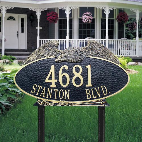 "Oval Eagle Estate Lawn Address Plaque 24""W x 14""H (2 Lines)"