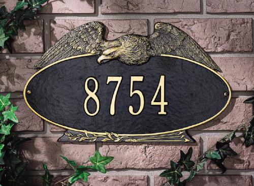 "Oval Eagle Standard Wall Address Plaque 16""W x 9.25""H (1 Line)"