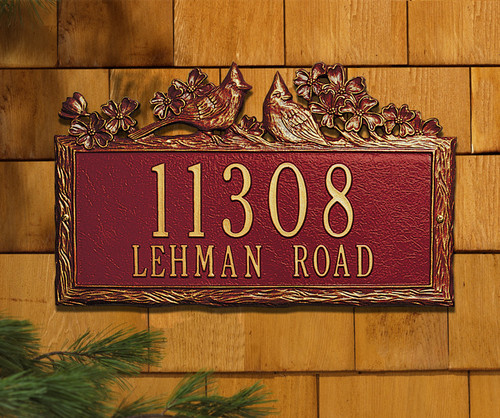 "Woodlland Cardinal Standard Wall Address Plaque 15.5""W x 10""H (2 Lines)"