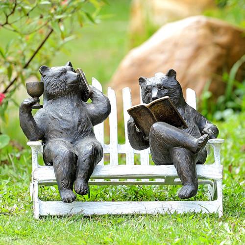 """Hipster Bears on Bench Garden Sculpture 15""""W"""