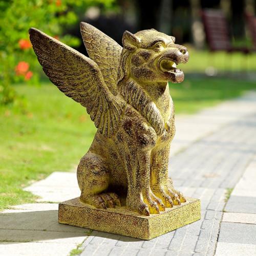 "Winged Lion Resin Garden Sculpture 23.5""H"