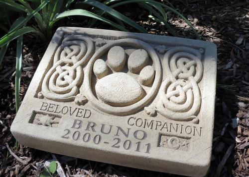 "2 Lines Engraved Celtic Pet Memorial 9.25""W"