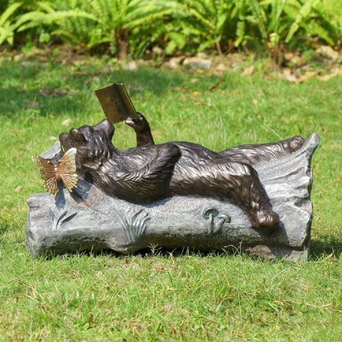 """Lazy Reader Bear Garden Sculpture 25""""W"""