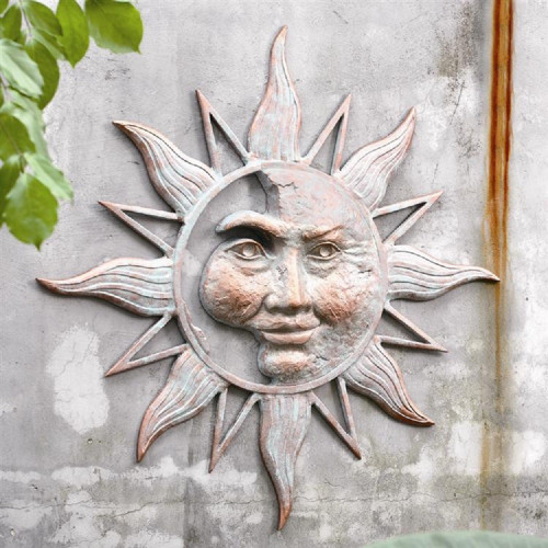 "Half Face Sun Wall Plaque 33.5""W"