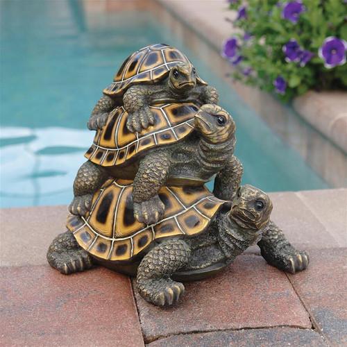 "Three's a Crowd Stacked Turtle Garden Statue 9.5""H"