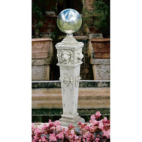 "Lion Head Gazing Globe Garden Pillar Statue 41""H"