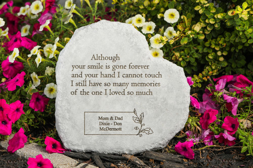 """Although your smile is gone..."" 12"" Heart Personalized Memorial Stone"