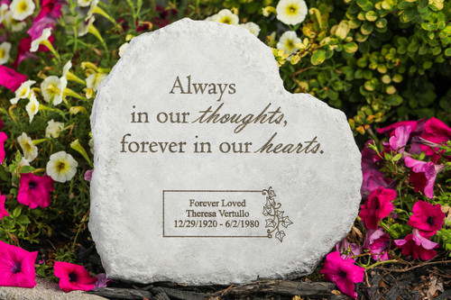 """Always in your thoughts..."" 12"" Square Personalized Memorial Stone"
